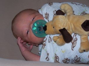 Liam 22 day old is home from NICU Aug 5 2014 with his doggie pacifier 2